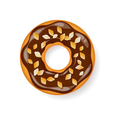Donut, begel con crema. Galletas, pastel de galletas. Postre dulce. con azúcar, caramelo Foto de archivo - 74510493