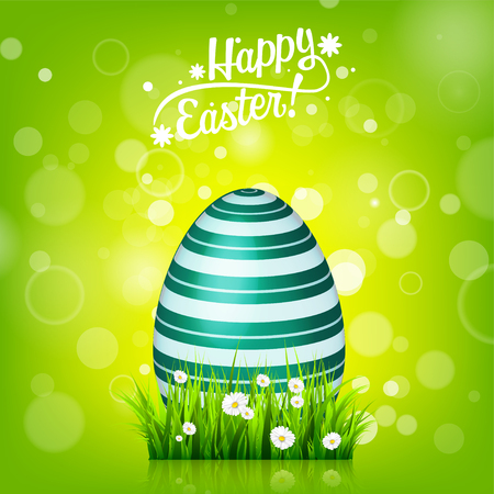 Easter egg hunt. Green background. April holidays. Flowers and grass. Abstract banner, card. Spring time. Celebration.