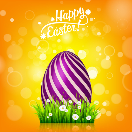Easter egg hunt. Orange, yellow background. April holidays. Flowers and grass. Abstract banner, card. Spring time. Celebration.