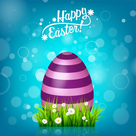 grass close up: Easter egg hunt. Blue background. April holidays. Flowers and grass. Abstract banner, card. Spring time. Celebration. Illustration