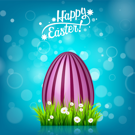 Easter egg hunt. Blue background. April holidays. Flowers and grass. Abstract banner, card. Spring time. Celebration. Illustration