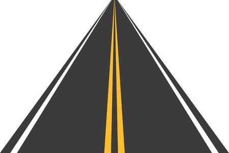 Road, street with asphalt. Highway. Way for transport. Isolated.Speedway.Vector illustration. Ilustração