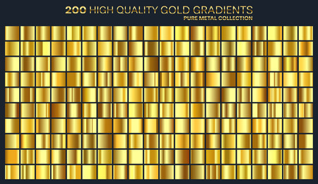 Gold, golden gradient, pattern, template. Set of colors for design,collection of high quality gradients. Metallic texture,shiny background. Illustration