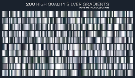 Silver gradient, pattern, template. Set of colors for design,collection of high quality gradients.