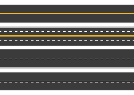 Road, street with asphalt. Highway. Way for transport. Isolated.Speedway.Vector illustration. Ilustracja