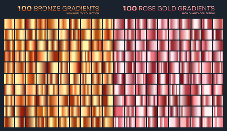Rose gold,golden gradient,pattern,template.Set of colors for design,collection of high quality gradients.Metallic texture,shiny background.Pure metal.Suitable for text,mockup,banner,ribbon,ornament.