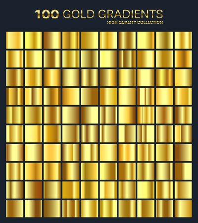 Gold,golden gradient, pattern, template. Set of colors for design,collection of high quality gradients.Metallic texture, shiny background. Illustration