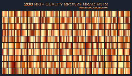 Bronze gradient, pattern, template. Set of colors for design,collection of high quality gradients.