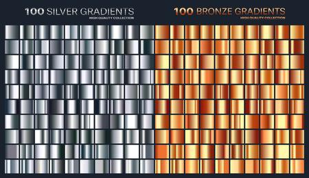 シルバー、ブロンズのグラデーション、パターン、テンプレート。デザイン、高品質の勾配のコレクションのための色のセットです。金属的な質感
