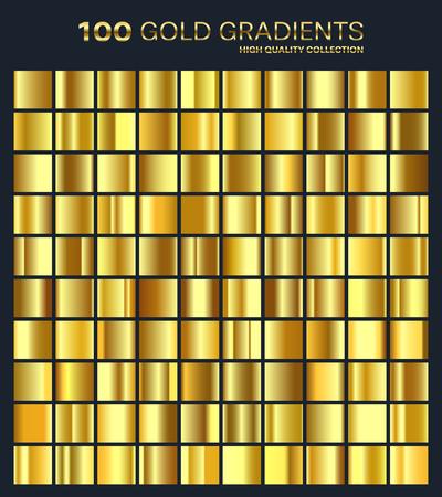 Goud, gouden verloop, patroon, sjabloon. Reeks kleuren voor ontwerp, collectie van hoogwaardige gradiënten. Metalen textuur, glanzende achtergrond. Metaal. Geschikt voor tekst, mockup, banner, lint of sieraad.
