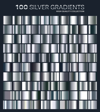 Silver gradient,pattern,template.Set of colors for design,collection of high quality gradients. Illustration