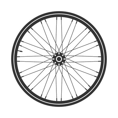 Simbolo della ruota della bicicletta, vettore. Gomma della bici. Pneumatico di montagna. Valvola. Fitness cycle.MTB. Mountain bike.
