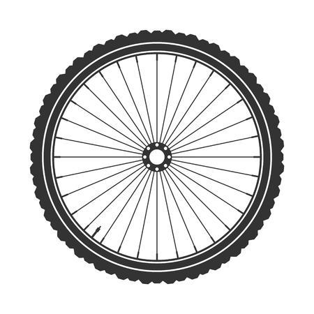 one wheel bike: Bicycle wheel symbol,vector. Bike rubber. Mountain tyre. Valve. Fitness cycle.MTB. Mountainbike.
