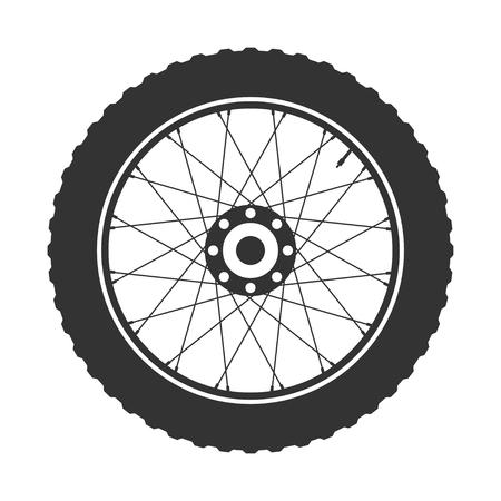motorizado: Símbolo de la rueda de bicicleta, vector. Caucho de bicicleta. Neumático de montaña. Válvula. Ciclo de fitness.MTB. Bicicleta de montaña.