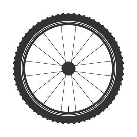 Simbolo della ruota della bicicletta, vettore. Gomma della bici. Pneumatico di montagna. Valvola. Fitness cycle.MTB. Mountain bike. Archivio Fotografico - 76249681