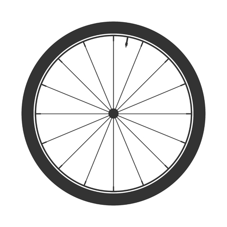 Fietswiel symbool, vector. Fietsrubber. Bergband. Klep. Fitness cyclus.MTB. Mountain bike. Stock Illustratie