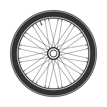 Bicycle wheel symbol,vector. Bike rubber. Mountain tyre. Valve. Fitness cycle.MTB. Mountainbike.