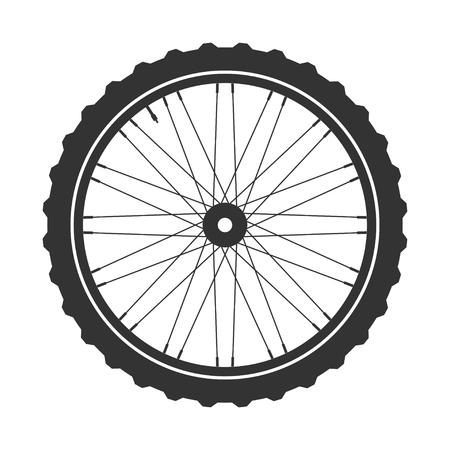 symbole de roue de bicyclette, vecteur. caoutchouc vélo. pneu de montagne. Soupape. Fitness cycle.MTB. Vélo de montagne.