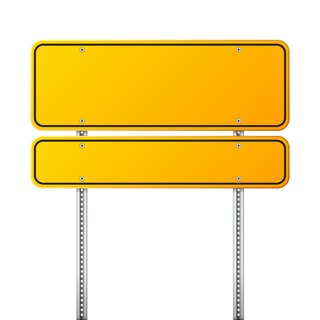 Road yellow traffic sign. Blank board with place for text.Mockup. Isolated information sign. Direction. Vector illustration. Vettoriali