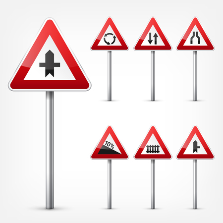 Road signs collection isolated on white background. Road traffic control.Lane usage.Stop and yield. Regulatory signs. Stock Illustratie