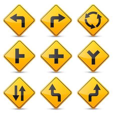 Verkeerstekeninzameling op witte achtergrond wordt geïsoleerd die. Controle op wegverkeer. Gebruik van rijstrook. Stoppen en opbrengst. Regulatory signs. Bochten en bochten.