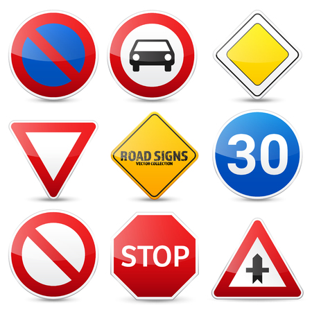 Road signs collection isolated on white background. Road traffic control.Lane usage.Stop and yield. Regulatory signs. Ilustrace
