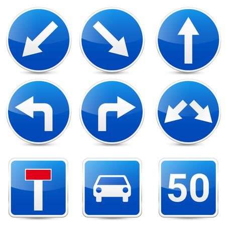 道路標識、白い背景で隔離のコレクションです。交通規制。車線の利用状況。停止し、降伏。規制標識。曲線となります。