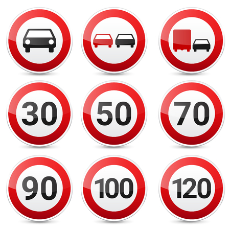 Road signs collection isolated on white background. Road traffic control.Lane usage.Stop and yield. Regulatory signs. Speed limit.