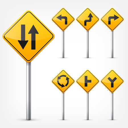 道路標識、白い背景で隔離のコレクションです。交通規制。車線の利用状況。停止し、降伏。規制標識。