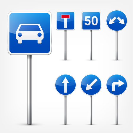 Road signs collection isolated on white background. Road traffic control.Lane usage.Stop and yield. Regulatory signs. Ilustração