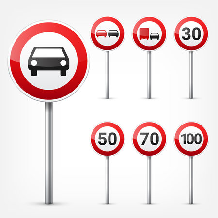 Road signs collection isolated on white background. Road traffic control.Lane usage.Stop and yield. Regulatory signs.Speed limit. Illustration