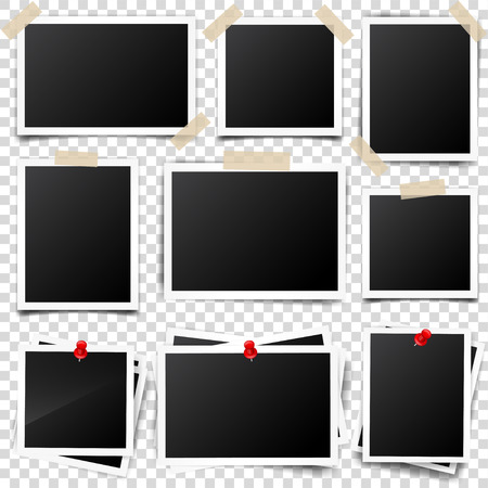 デジタル スナップ ショット、イメージ。写真芸術。テンプレートやデザインのモックアップ。透明な背景のベクトル図。