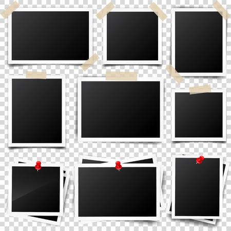 Digital snapshot,image.Photography art. Template or mockup for design.Vector illustration on a transparent background. Ilustração Vetorial