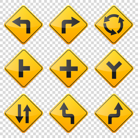 uturn: Road signs collection isolated on white background. Road traffic control.Lane usage.Stop and yield. Regulatory signs. Curves and turns. Illustration