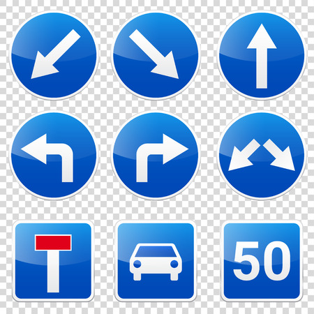 Road signs collection isolated on white background. Road traffic control.Lane usage.Stop and yield. Regulatory signs. Curves and turns. Ilustrace