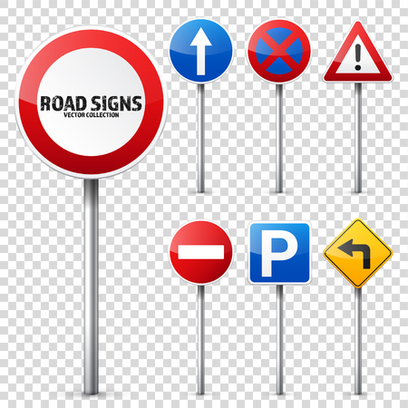 Wegborden verzamelen geïsoleerd op een witte achtergrond. Road traffic control.Lane usage.Stop en opbrengst. Regeltekens. Stock Illustratie