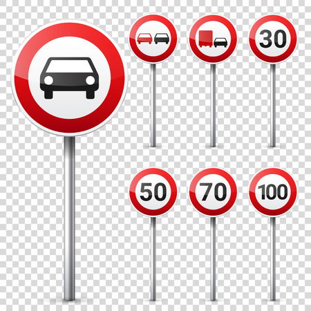 Road signs collection isolated on white background. Road traffic control.Lane usage.Stop and yield. Regulatory signs.Speed limit. Ilustracja