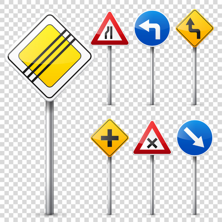 Road signs collection isolated on white background. Road traffic control.Lane usage.Stop and yield. Regulatory signs. Banco de Imagens - 77754194