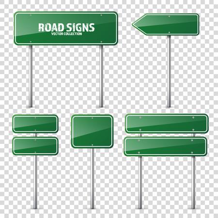Weg groen verkeersbord. Blanco bord met plaats voor tekst.Mockup. Geïsoleerde informatiebord. Richting. Vector illustratie. Stock Illustratie