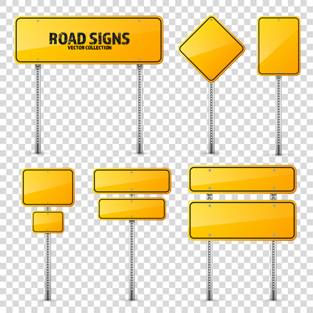 Road yellow traffic sign. Blank board with place for text.Mockup. Isolated information sign. Direction. Vector illustration. Çizim