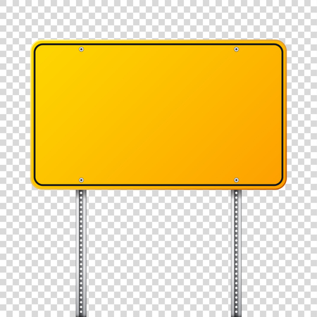 Road yellow traffic sign. Blank board with place for text.Mockup. Isolated information sign. Direction. Vector illustration. Ilustrace