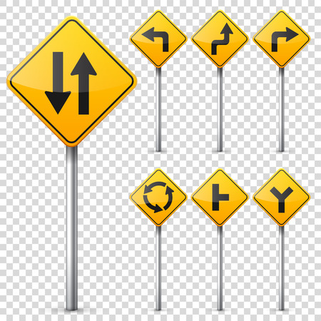 Computer instruction: Road signs collection isolated on white background. Road traffic control.Lane usage.Stop and yield. Regulatory signs. Illustration