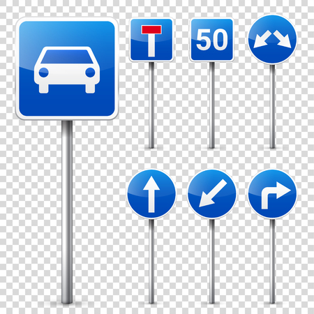 Road signs collection isolated on white background. Road traffic control.Lane usage.Stop and yield. Regulatory signs. Banco de Imagens - 77754186