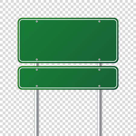 Road green traffic sign. Blank board with place for text.Mockup. Isolated information sign. Direction. Vector illustration.