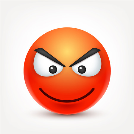 Smiley,angry emoticon. Red face with emotions. Facial expression. 3d realistic emoji. Funny cartoon character.Mood. Web icon. Vector illustration. Illustration