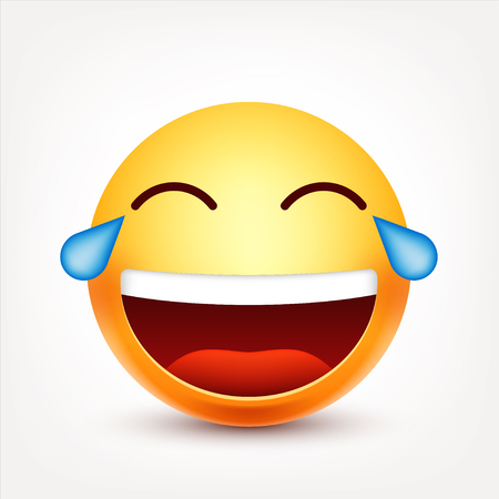 Smiley,laughing emoticon with tears. Yellow face with emotions. Facial expression. 3d realistic emoji. Funny cartoon character.Mood. Web icon. Vector illustration.