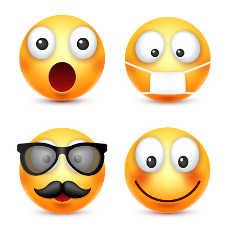 smileys: Smiley,smiling emoticon. Yellow face with emotions. Facial expression. 3d realistic emoji. Funny cartoon character.Mood. Web icon. Vector illustration.