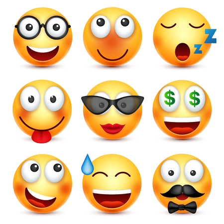 Funny cartoon character moods. Web icon. Vector illustration.