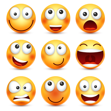 smileys: Smiley set,smiling emoticon. Yellow face with emotions. Facial expression. 3d realistic emoji. Funny cartoon character.Mood. Web icon. Vector illustration. Illustration
