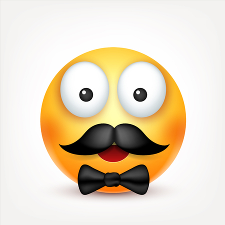 Smiley with mustache,smiling emoticon. Yellow face with emotions. Facial expression. 3d realistic emoji. Funny cartoon character.Mood. Web icon. Vector illustration. Ilustracja